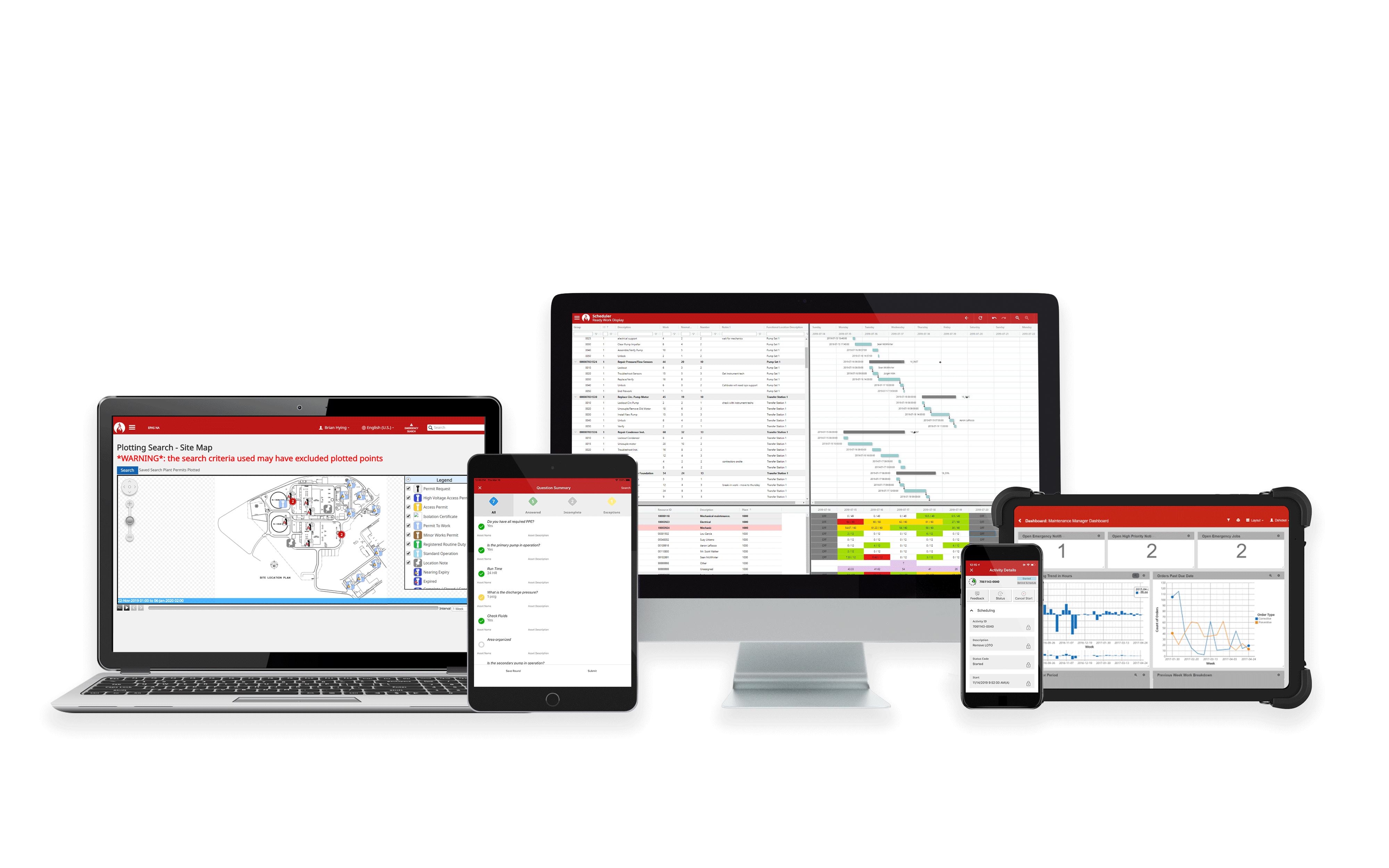 5 devices showcasing the Prometheus Platform software running on desktop, mobile, ipad, laptop, and ipad landscape