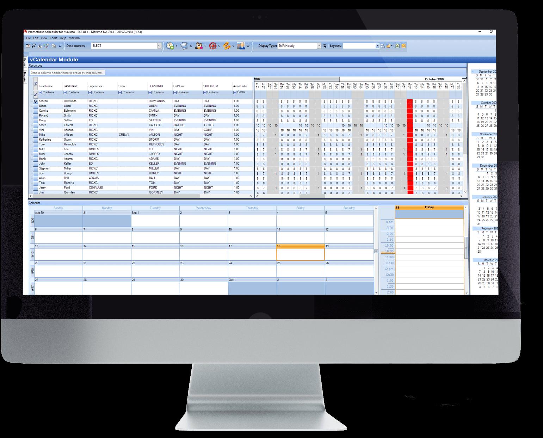 V calendar module screenshot