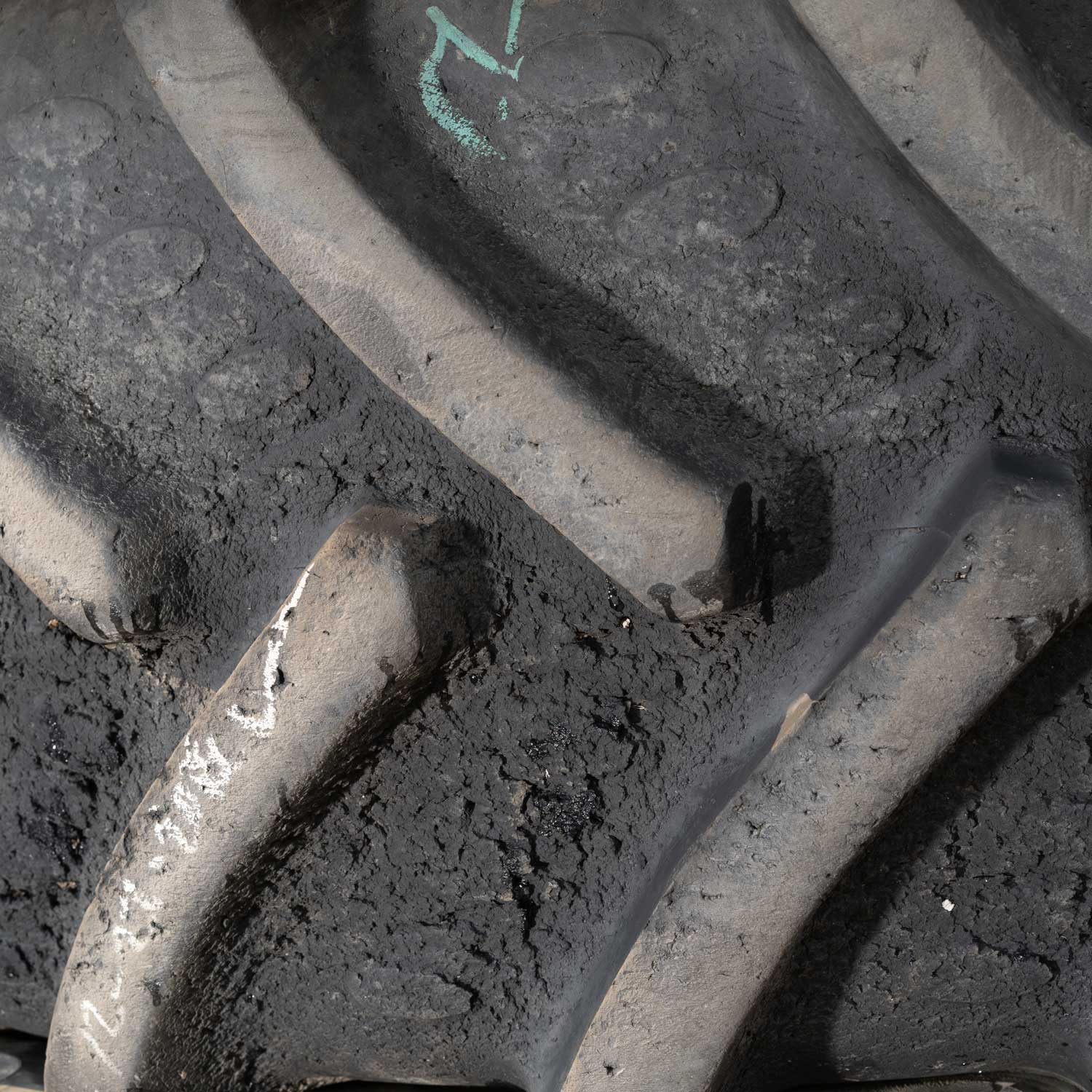 tractor tire with severe stubble damage