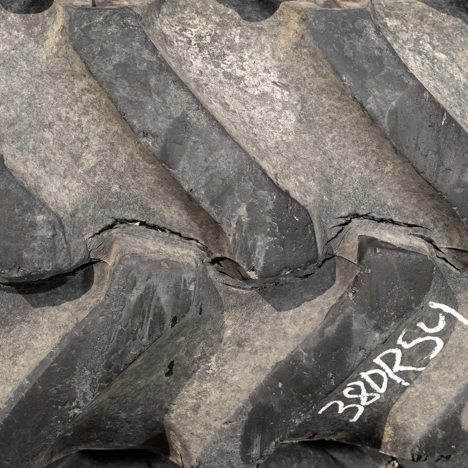 tractor tire with severe weathering