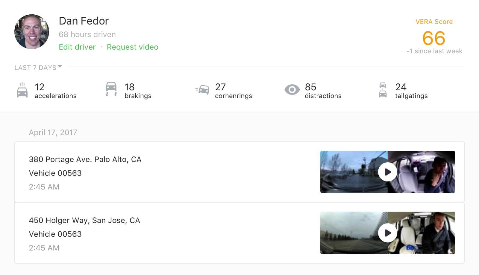 Screenshot of automatic driver identification