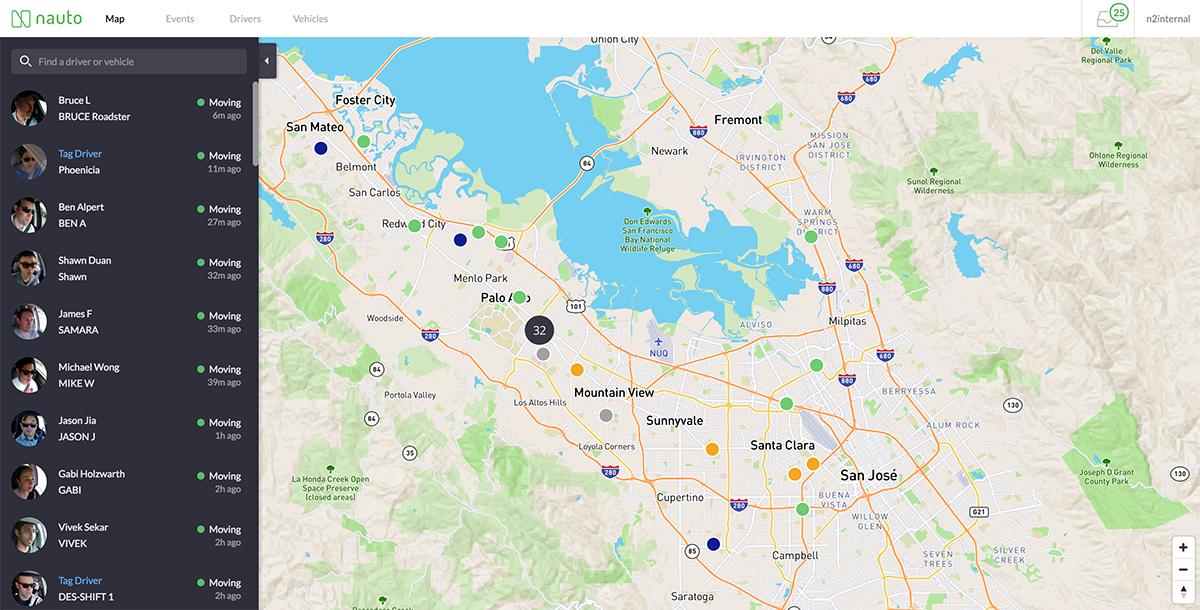 Screenshot of a live map