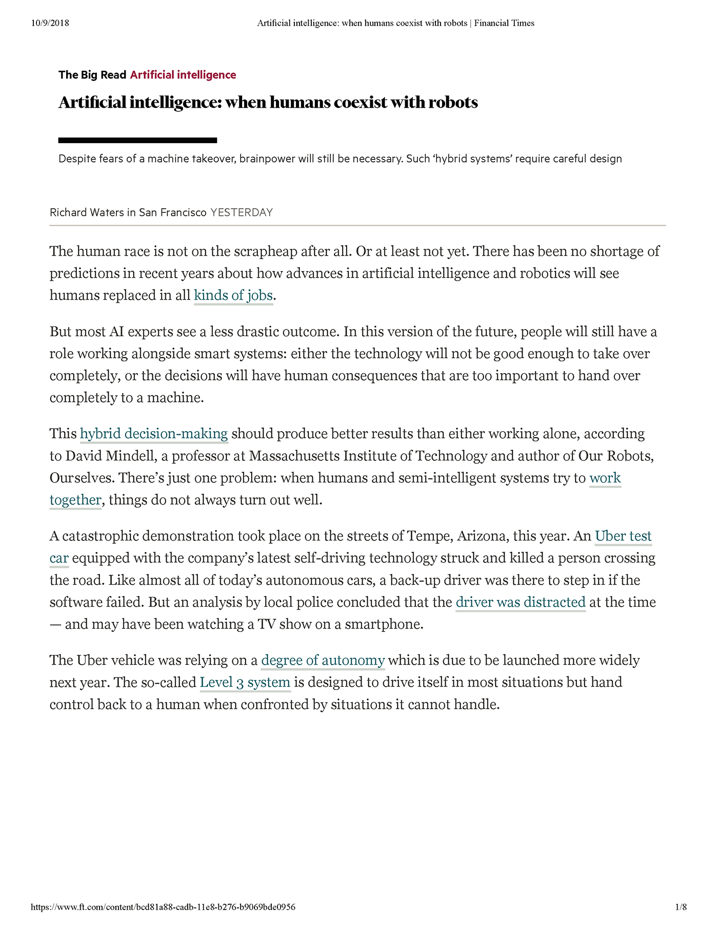 Article: Artificial Intelligence: When Humans Coexist with Robots, page 1