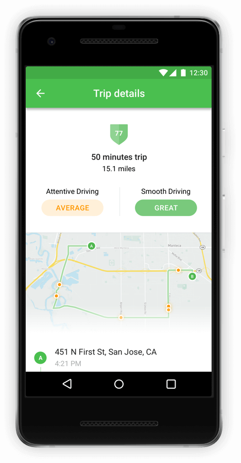 Fleet App Trip Details for Self-Coaching