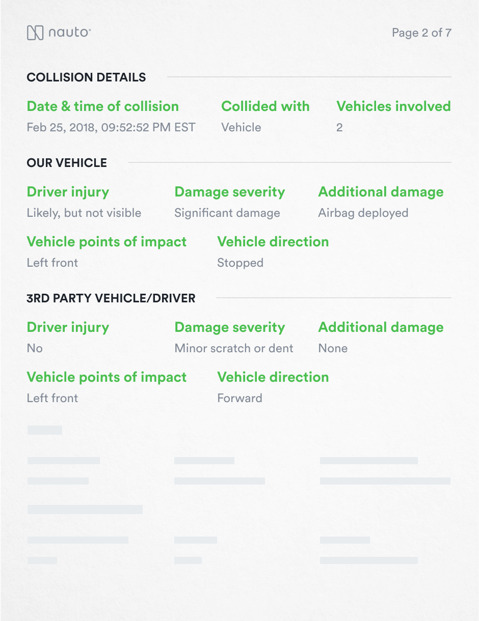 Screenshot of an Injury and Damages Report