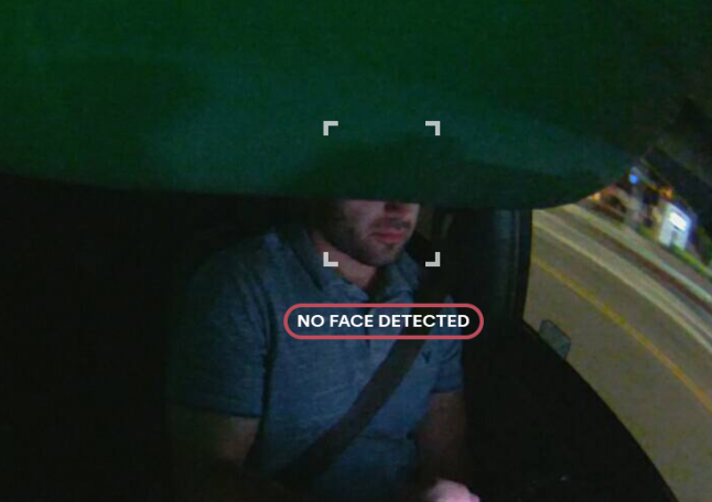 "Nauto Device displaying an obstructed face: ""No Face Detected"""