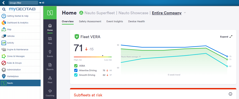 Screenshot of Nauto app on Geotab Marketplace