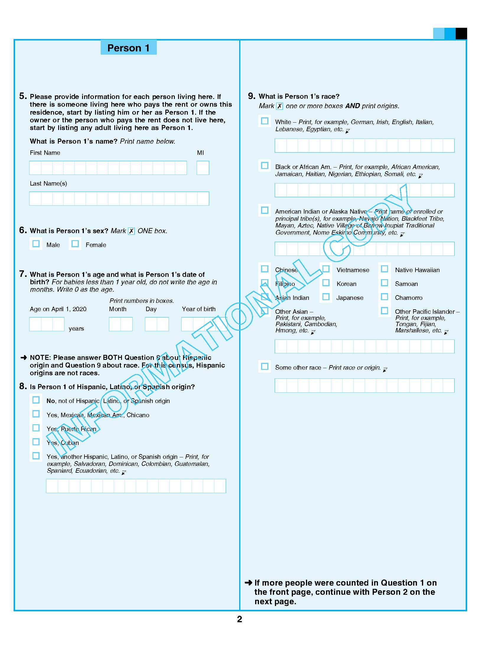 Informational Copy of Census Questionnaire
