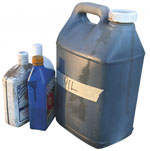 Containers of old hazardous liquid chemicals