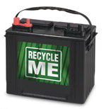 Car battery with the words Recycle Me on the front