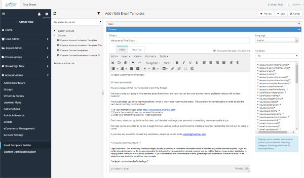 Email Customization - SmarterU LMS - Online Training Software