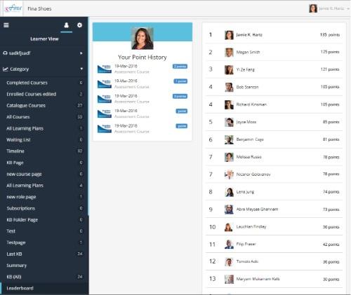 Learner Dashboard Leaderboard - SmarterU LMS - Learning Management System