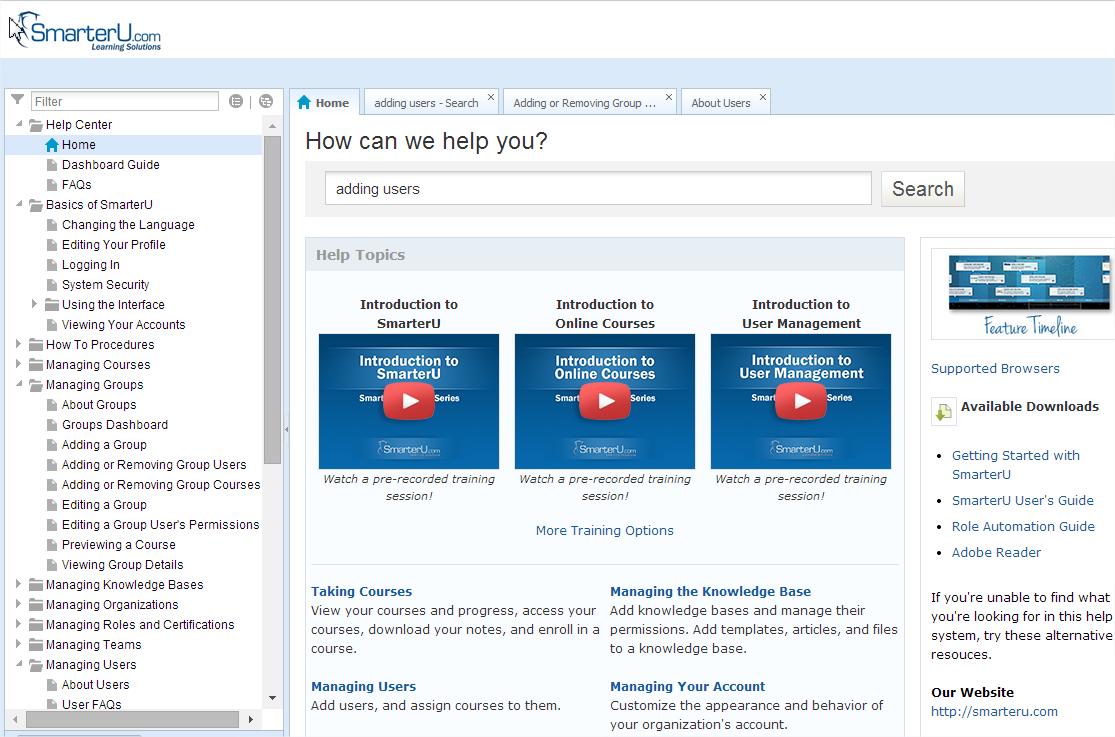 Online Help System - SmarterU LMS - Online Training Software