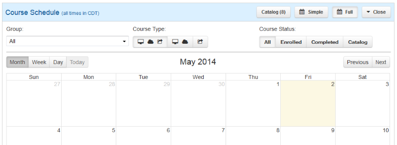 Full Calendar View - SmarterU LMS - Corporate Training