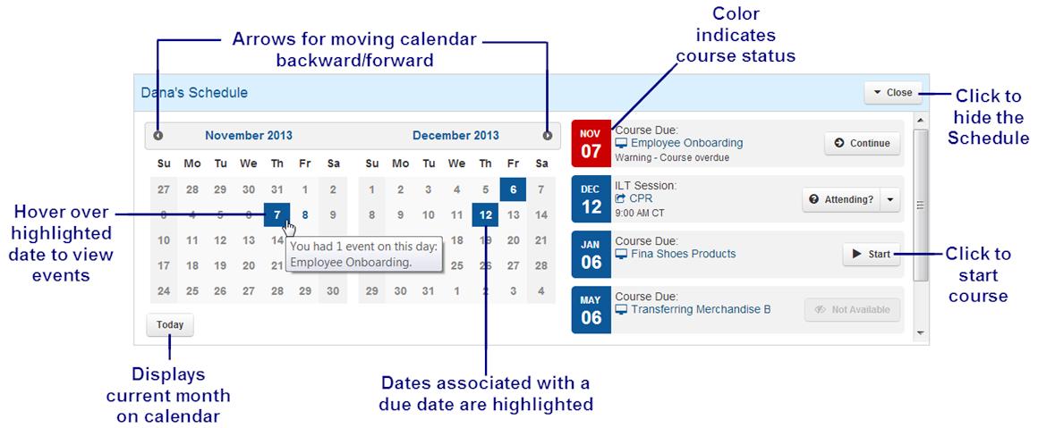 Learner Calendar - SmarterU LMS - Blended Learning