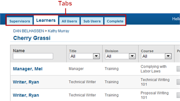 Tabs - SmarterU LMS - Blended Learning