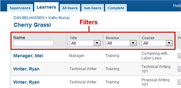 Filters - SmarterU LMS - Blended Learning