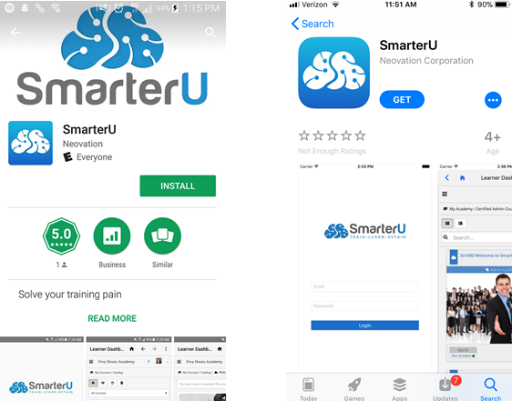 Screen shots of the SmarterU Mobile app available on the Google Play and Apple Store - SmarterU LMS - Blended Learning