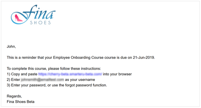 An example of a scheduled email - SmarterU LMS - Blended Learning