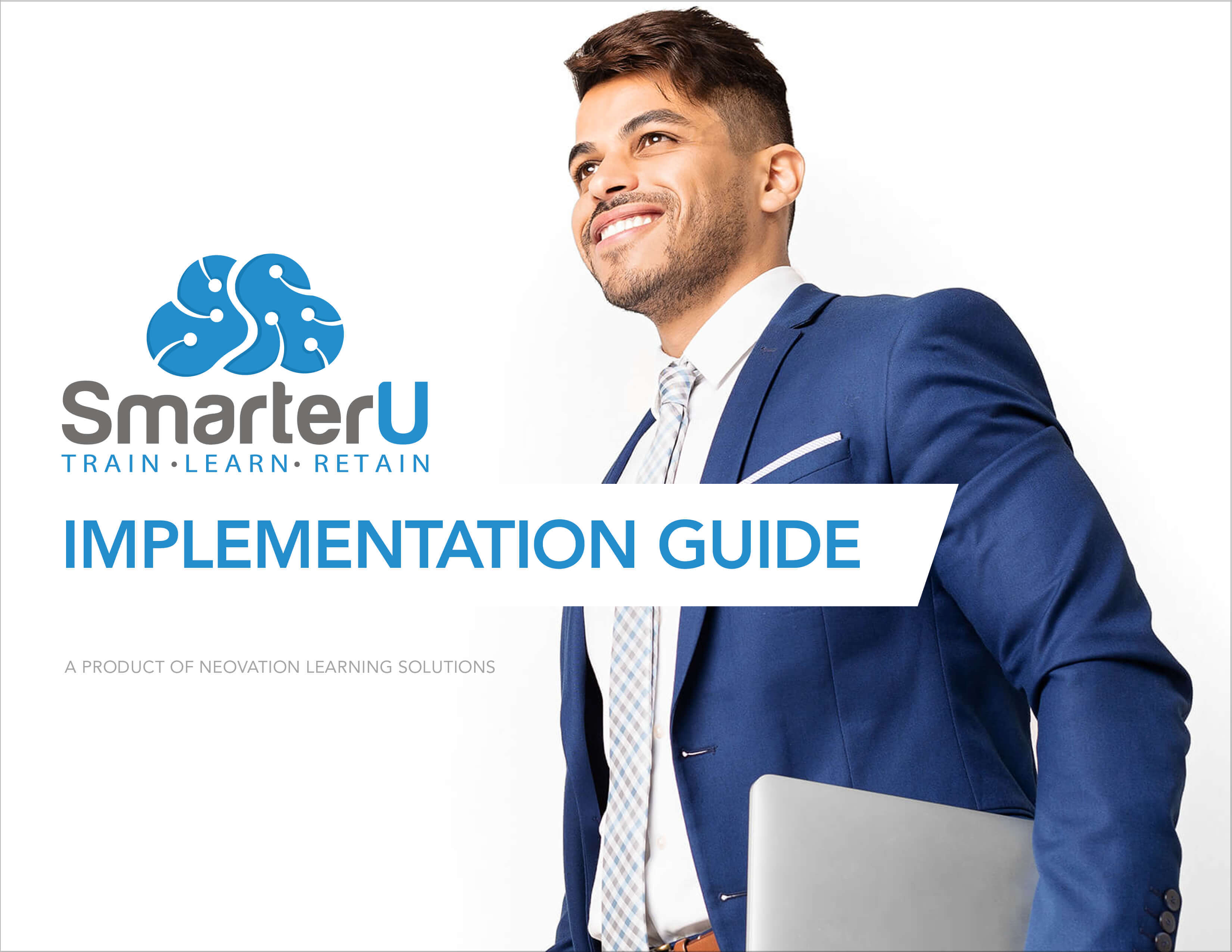 Cover of the implementation guide depicting a happy businessman in a dark blue suit - SmarterU LMS Online Training Software
