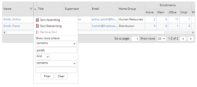 "Screenshot of a grid being filtered by username, searching for any user with ""smith"" in their name - SmarterU LMS - Learning Management Systems"