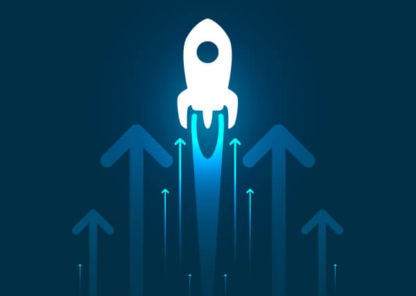 Illustration of a simplified rocket flying straight up in the air on  a solid dark blue background; there ar a series of arrows surrounding it, all of which point upwardn