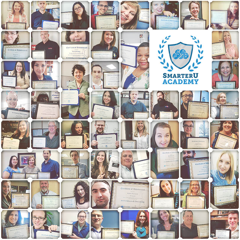 A grid of various people holding up their SmarterU Academy Certified Admin certificates.