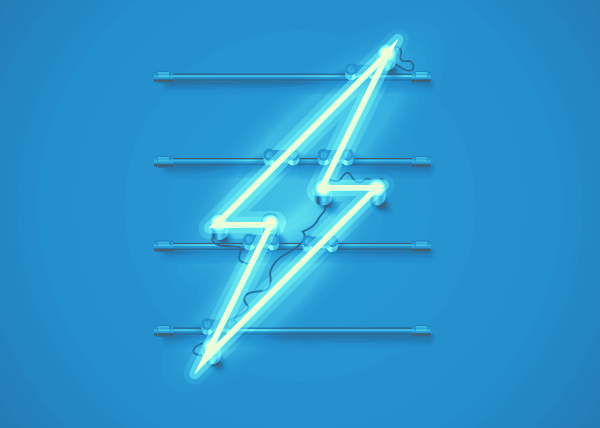 A neon sign showing a lightning bolt in shades of white and blue.