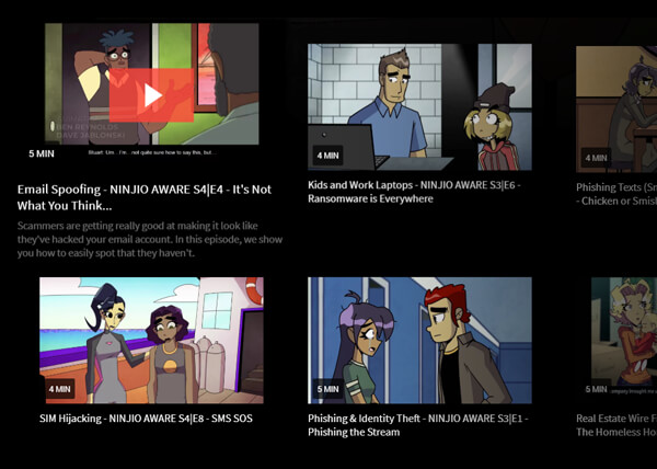 Tiled view of a selection of the available NINJIO episoders