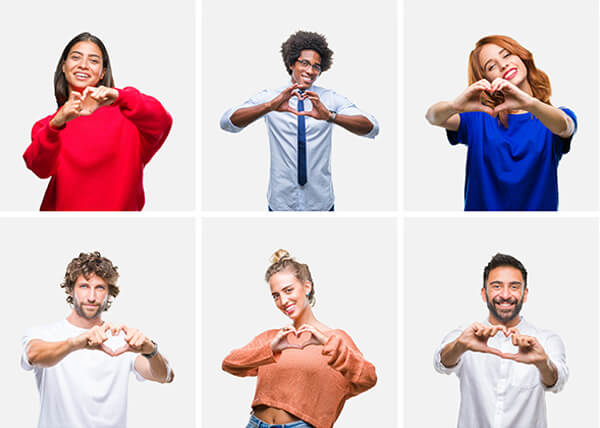 Group of 6 diverse people cropped in white boxes, making a heart shape with their hands.