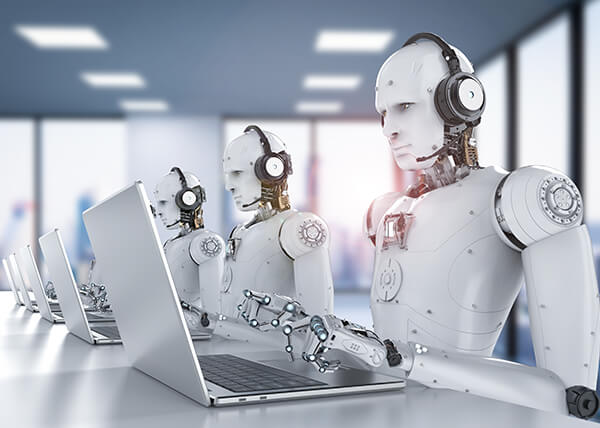 Series of androids sitting at laptops, typing and wearing headsets.