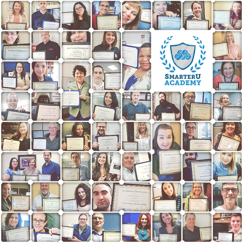 A collage of selfies from many of the SmarterU Academy graduates.