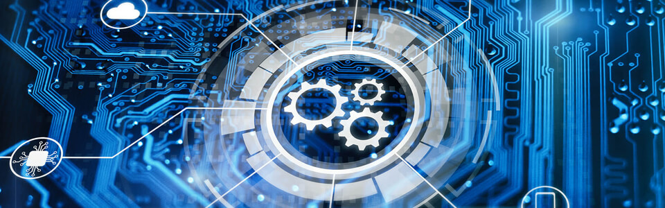 Cogs surrounded by a circle made of rectangles, which lays on top of a background that looks like a circuit board.