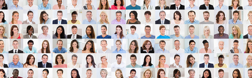 Rows of portraits of a diverse group of people.
