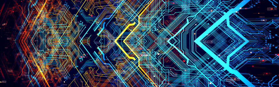 Abstract lines shaped like a left-facing angle, designed to mimic circuit boards.