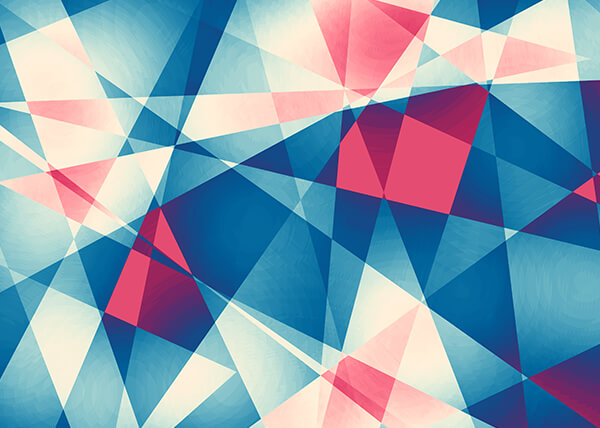 Abstract geometric shapes in red, navy blue, pale blue, and white.