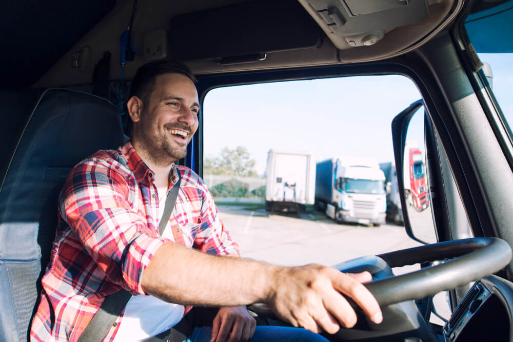 Photo of a fleet driver driving a truck