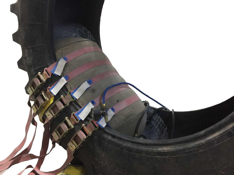 high-pressure heat cure completes a vulcanized tire repair