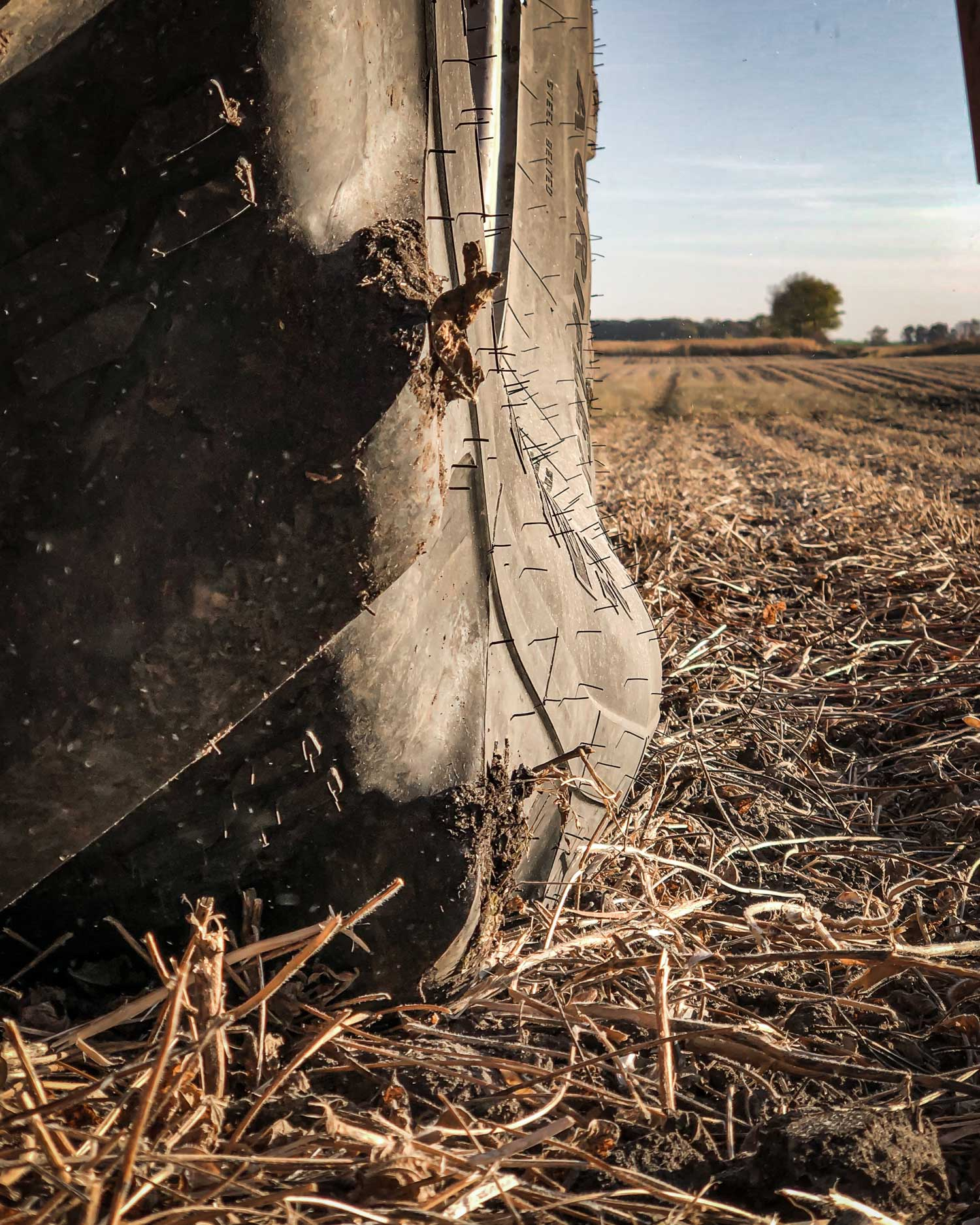 The Alliance 372 Agriflex combine tire can carry the same load as a standard radial at significantly less air pressure.