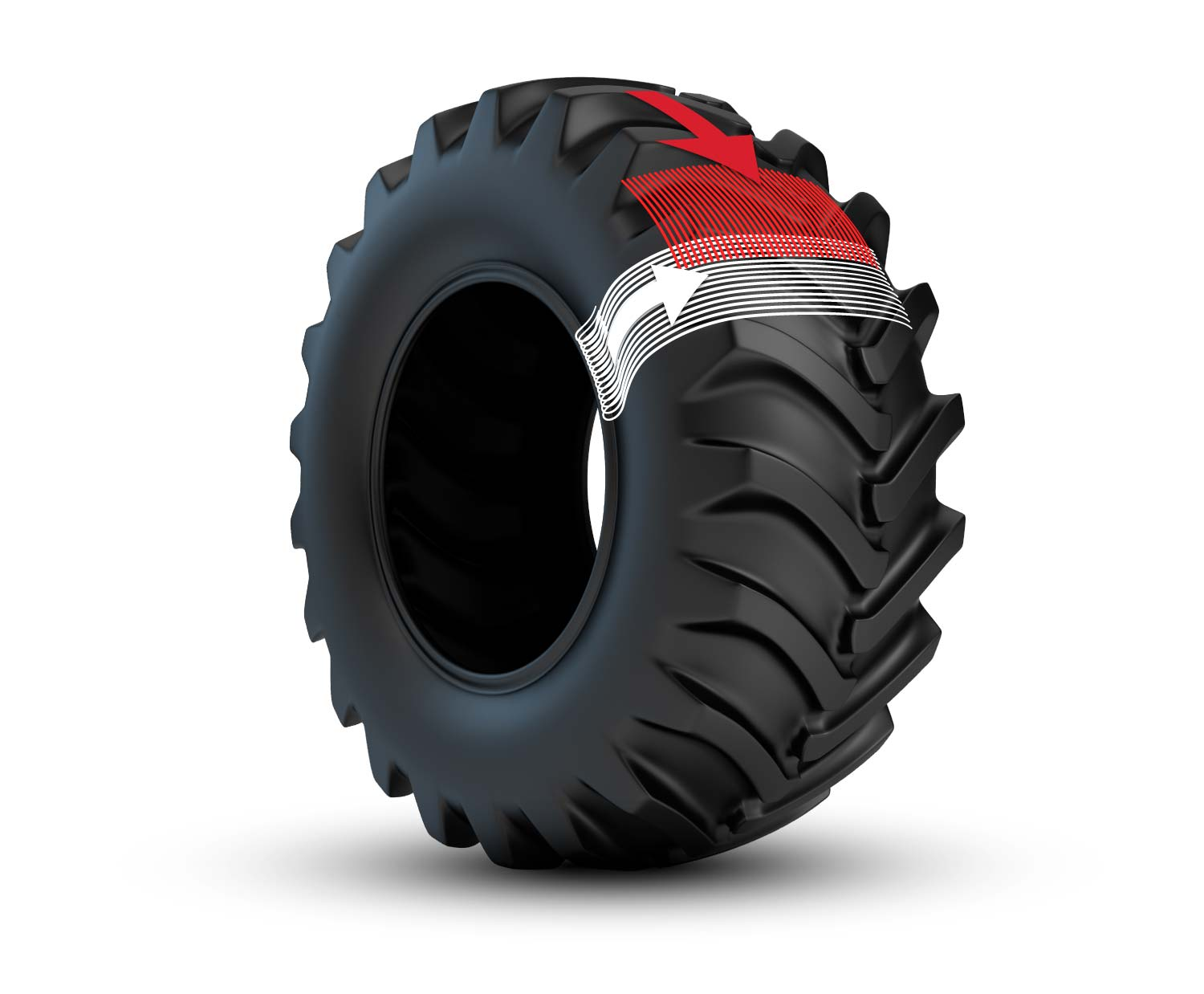 radial tractor tire construction