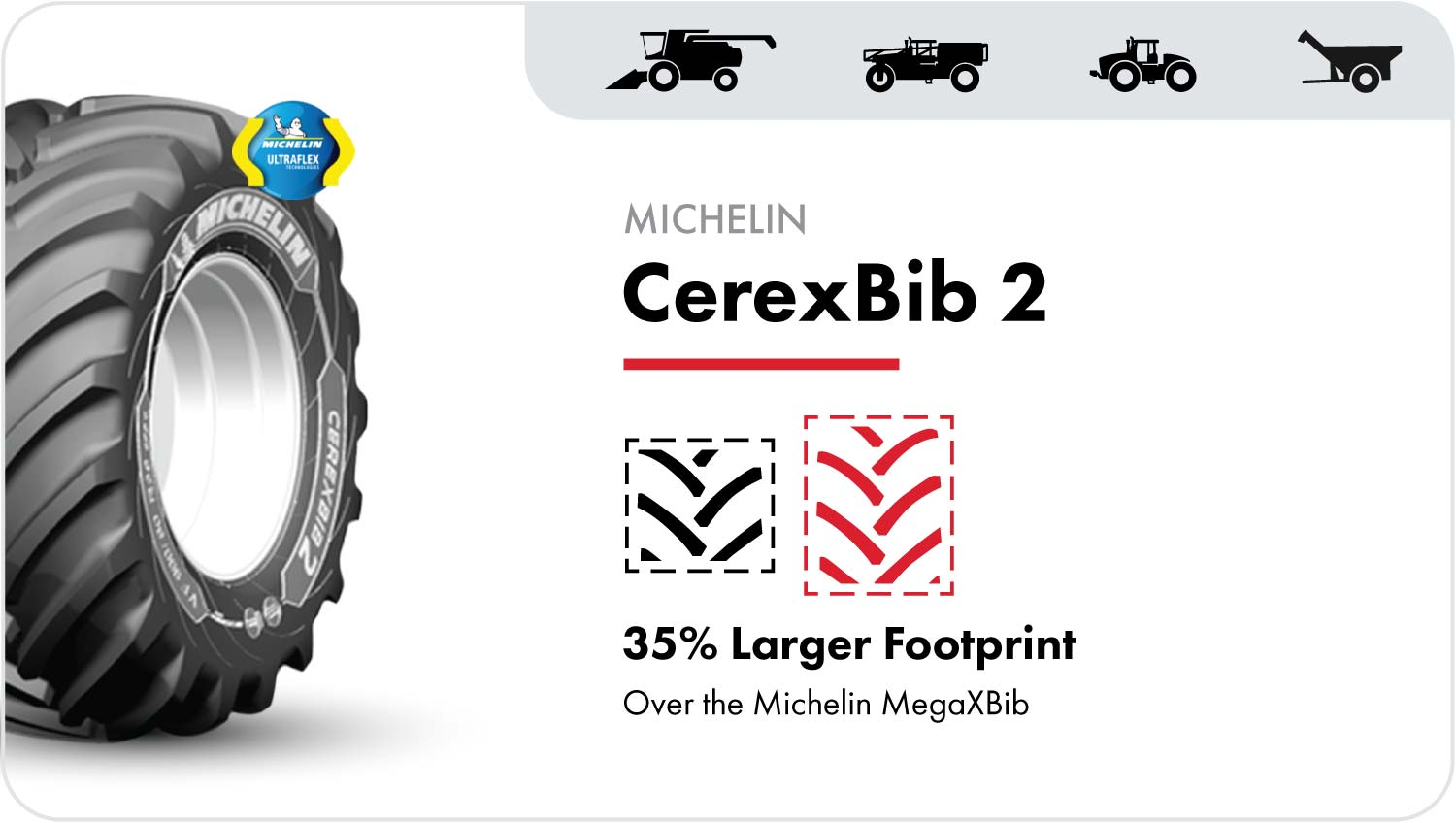 The VF Michelin CerexBib 2 with the CFO+ designation is the next generation combine tire that delivers an even larger footprint than the CereXBib and MegaXBib tires.