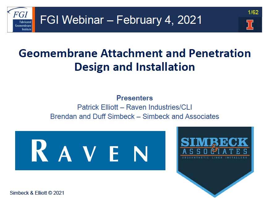 Latest Fabricated Geomembrane Webinar