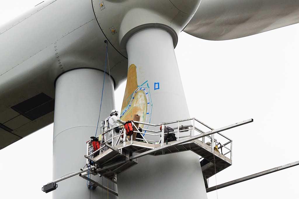 Wind Turbine Blade Repair - Technicians working from aerial platform