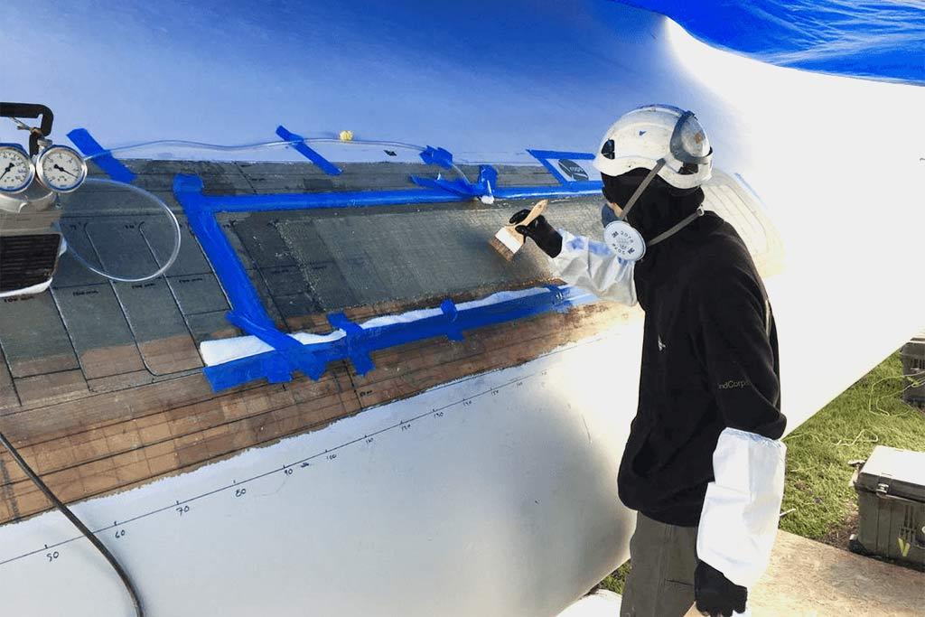 Large Multi-Layer Fiberglass Repair on Wind Turbine Blade