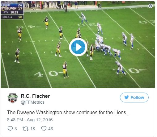 The Dwayne Washington show continues for the Lions