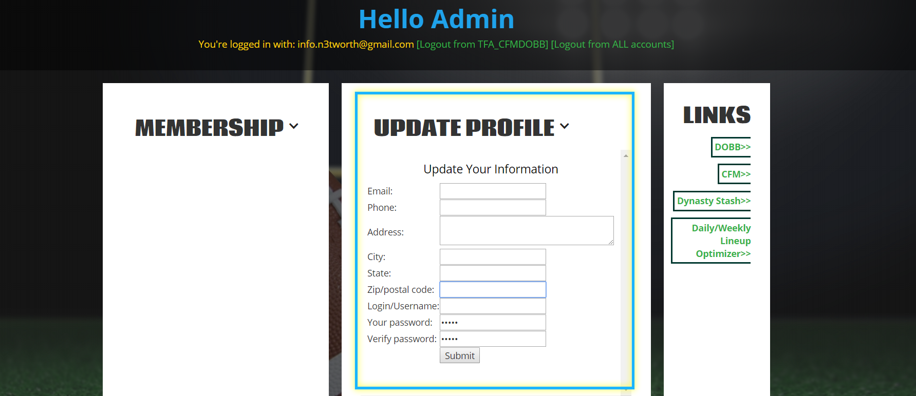 update profile info