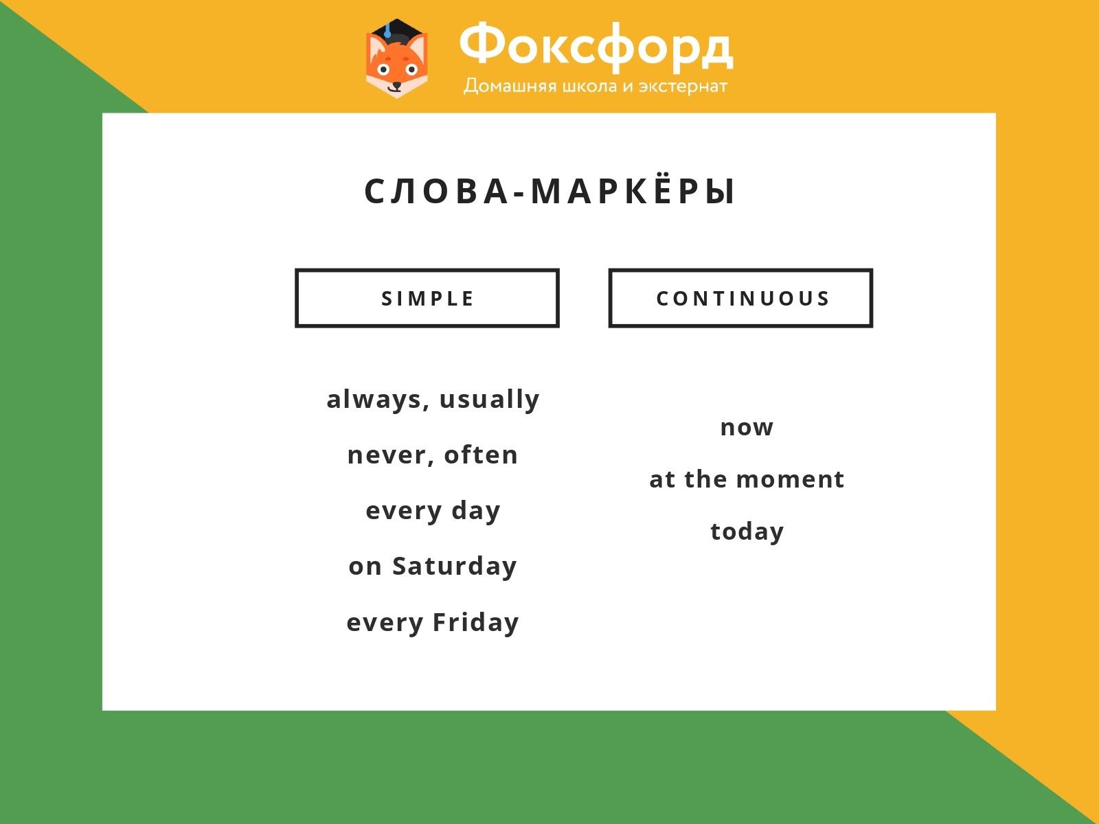 Слова-помощники для Present Simple и Present Continuous