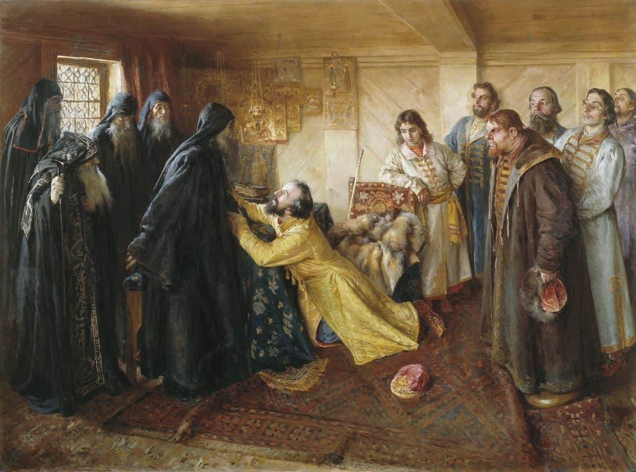 Клавдий Лебедев — «Царь Иван Грозный просит игумена Кирилла благословить его в монахи»