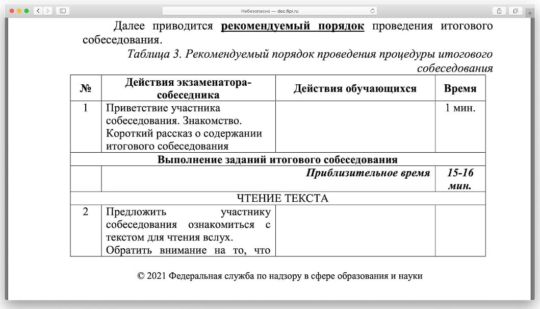 Регламент собеседования по русскому языку в 9 классе