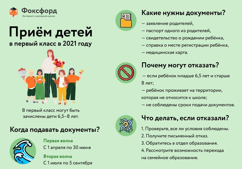 Приём детей в первый класс - инфографика